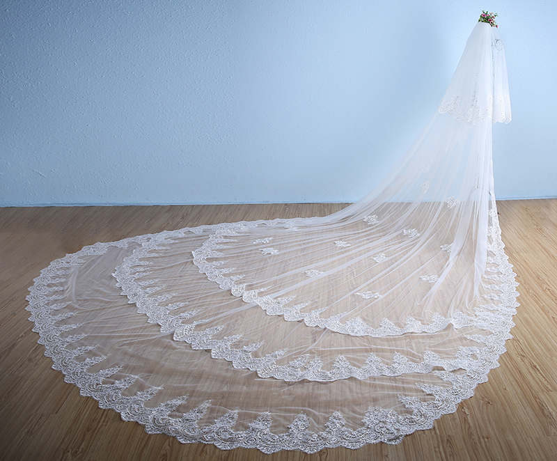 3 Layers White Ivory Cathedral Wedding Veil 5M Long Lace Edge Bridal Veil With Comb Wedding Accessories 2020