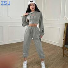 European and American New Fashion Printed Three Piece Hooded Sweater Vest Leggings Set