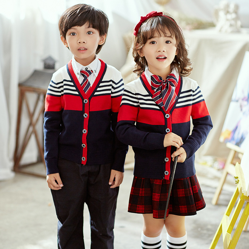 2019 Spring New Style Primary School STUDENT'S British-Style School Uniform Kindergarten Suit Children Knitted Sweater School Un