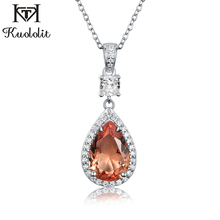 Kuololit Zultanite Gemstone Pendant For Women Solid 925 Sterling Silver Color change Diaspore Oval stone Necklace Fine Jewelry