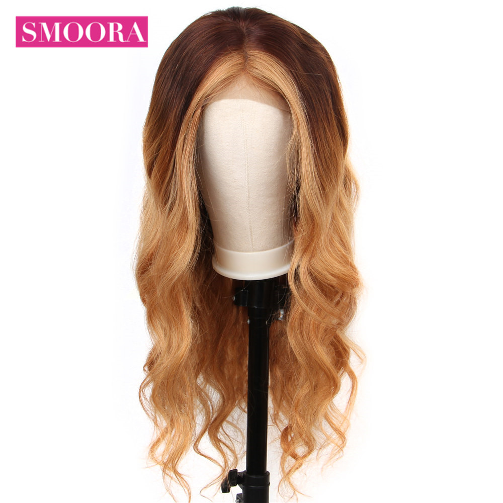 Ombre Lace Front Wigs #4/27 Mix Honey Blonde Brown Body Wave 13x4 Lace Front  Wigs Mongolian Non  Hair 150% Densit 5