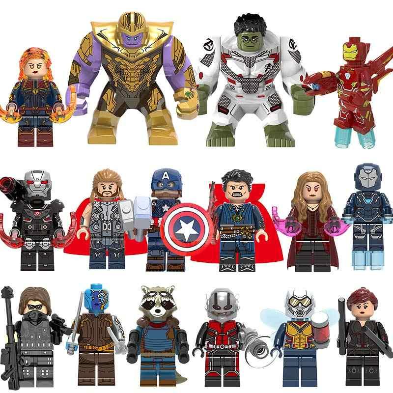 55 pz/lotto Super Heroes Building Blocks lEGOED Marvel Avengers Capitano 4 figure Hulk Spiderman Iron Man Thanos Endgame Giocattoli per bambini