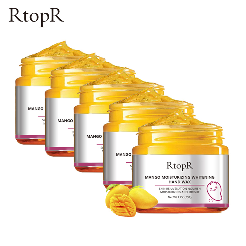5PCS Mango Moisturizing Hand Mask Wax Whitening Skin Care Exfoliating Calluses Anti-Aging Treatment Rough Hands Care 50g