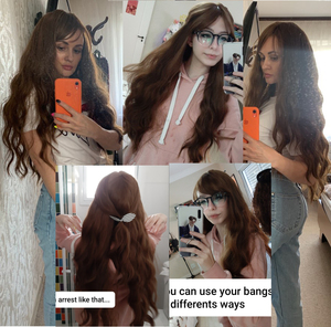 Image 3 - ALAN EATON Long Wavy Brown Wig with Bangs Synthetic Wigs for Black Women Heat Resistant Fiber Cosplay Party Natural Hair Wig