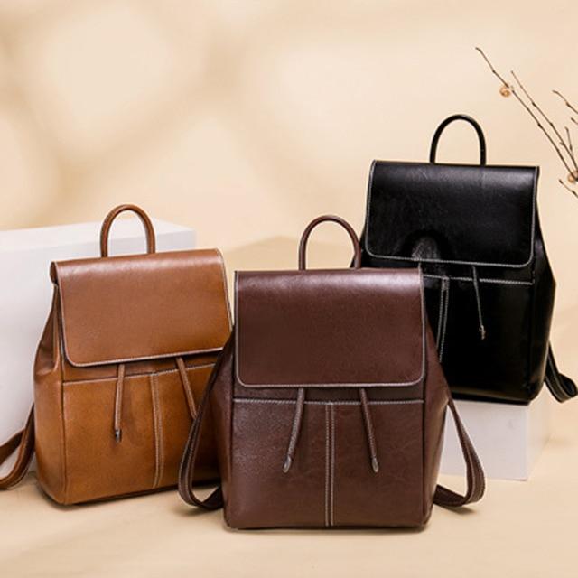 Luxury high quality genuine leather backpack women 2020 new travel knapsack female shoulder bag cowhide girls casual daypack
