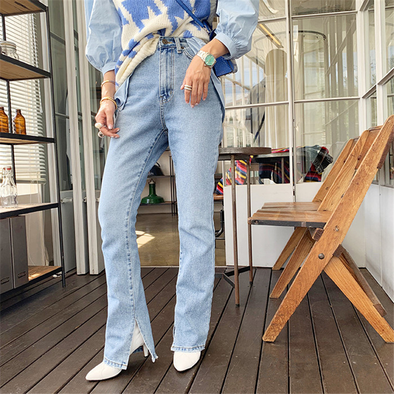 2019 Autumn Fashion Women High Waist Denim Jeans Straight Jeans Side Split Jeans Vintage Female Long Capri Pants