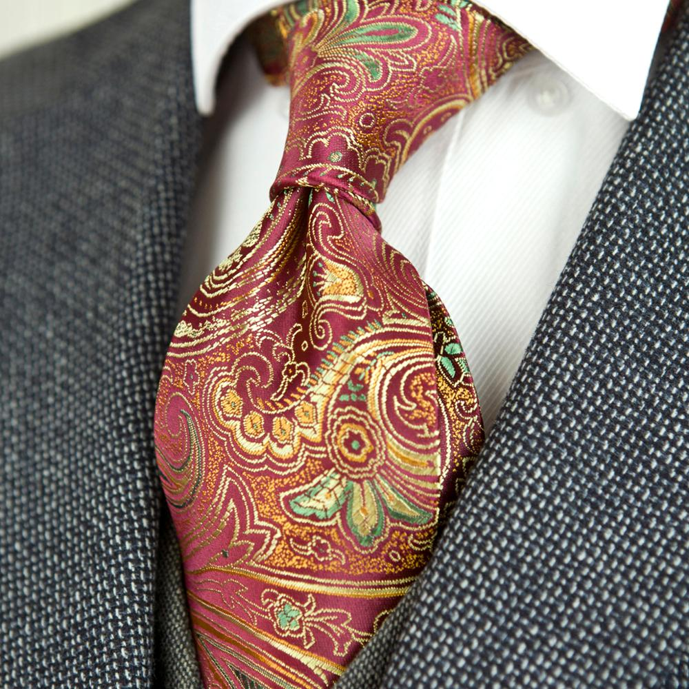 Gorgeous Floral Paisley Gold Red Purple Pink Black Mens Ties Necktie 100% Silk Jacquard Woven Free Shipping Wholesale Brand New