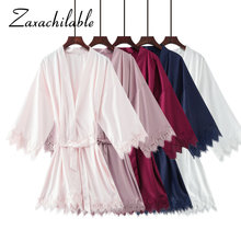 купить Zaxachilable New Matt Satin Lace Robe with Trim Gown Bridal Wedding Bride Robes Bridesmaid Kimono Robe  Bridal Robes дешево