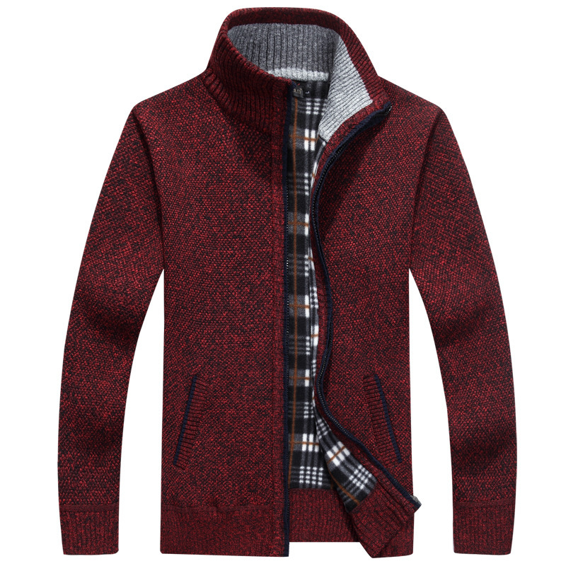 Thick Men's Knitted Sweater Coat Off White Long Sleeve Cardigan Fleece Full Zip Male Causal Plus Size Clothing For Autumn Spring 5