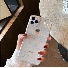 Блестящий чехол для телефона с GIMFUN звездой для Iphone 11 Pro Max, прозрачный чехол с сердечками для Iphone Xr X 7 6 8 Plus 5S SE