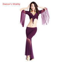 מכירה לוהטת! רשת רמקול שרוולי סט נשים 2pcs למעלה וחמש נקודות מכנסיים בטן ריקוד חליפת 12 צבעים M וl