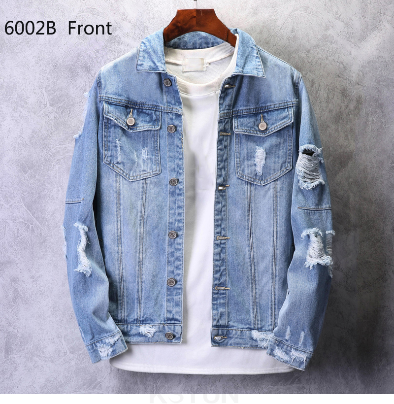 KSTUN Mens Jean Jacket Coats Light Blue Streetwear Loose Fit Ripped Denim Jacket for Man Teens Single-breasted Large Size 4XL 12