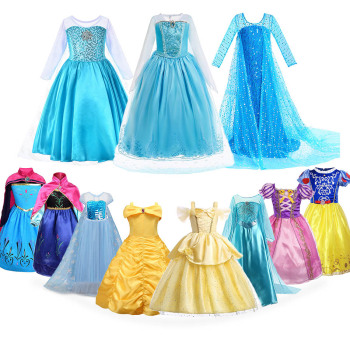Anna Elsa Dress for Girl Halloween Birthday Party Princess Costume Children Rapunzel Snow White Belle Fancy Outfit Clothes 3-10T froz 2en cosplay costume snow girl elsa dress costume halloween cosplay elsa anna costume princess ice queen outfit full set