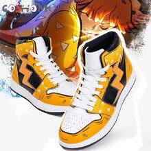 Coshome Anime Demon Slayer Kimetsu no Yaiba Agatsuma Zenitsu Cosplay Shoes Men Women Sports Boots Boys Girls Sneakers Gym Shoes