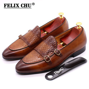 Image 1 - FELIX CHU Autumn Mens Leather Loafers Gentleman Wedding Party Casual Slip On Formal Shoes Black Brown Monk Strap Men Dress Shoes