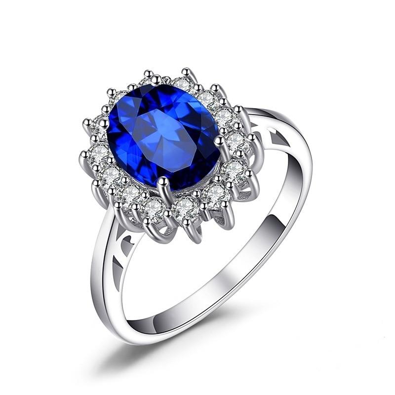 Модное Современное женское кольцо, роскошное синее кольцо принцессы Дианы, романтическое Помолвочное свадебное украшение, Женский Подарок...