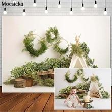 Mocsicka Spring Safari Cake Smash Photography Backdrops Tent Green Leaves Decor Child Birthday Photocall Background Photo Studio