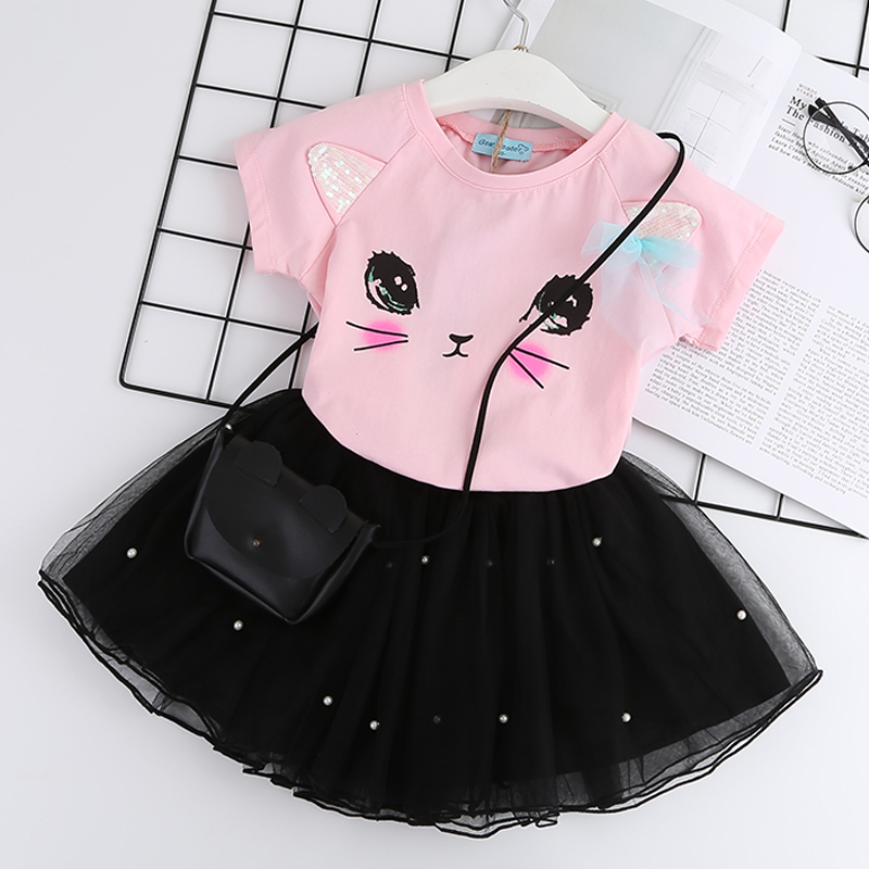 Casual Girls Dresses New Summer Kids Clothes Fashion Cartoon Cute Girl Ball Gown Dress Round Neck Cat Printed Princess Dress