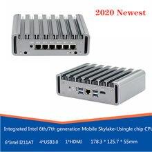 2020 mais novo 3965u i5/7200u i7/7500u processador mini pc 6 lan porta 4 usb3.0 firewall fanless