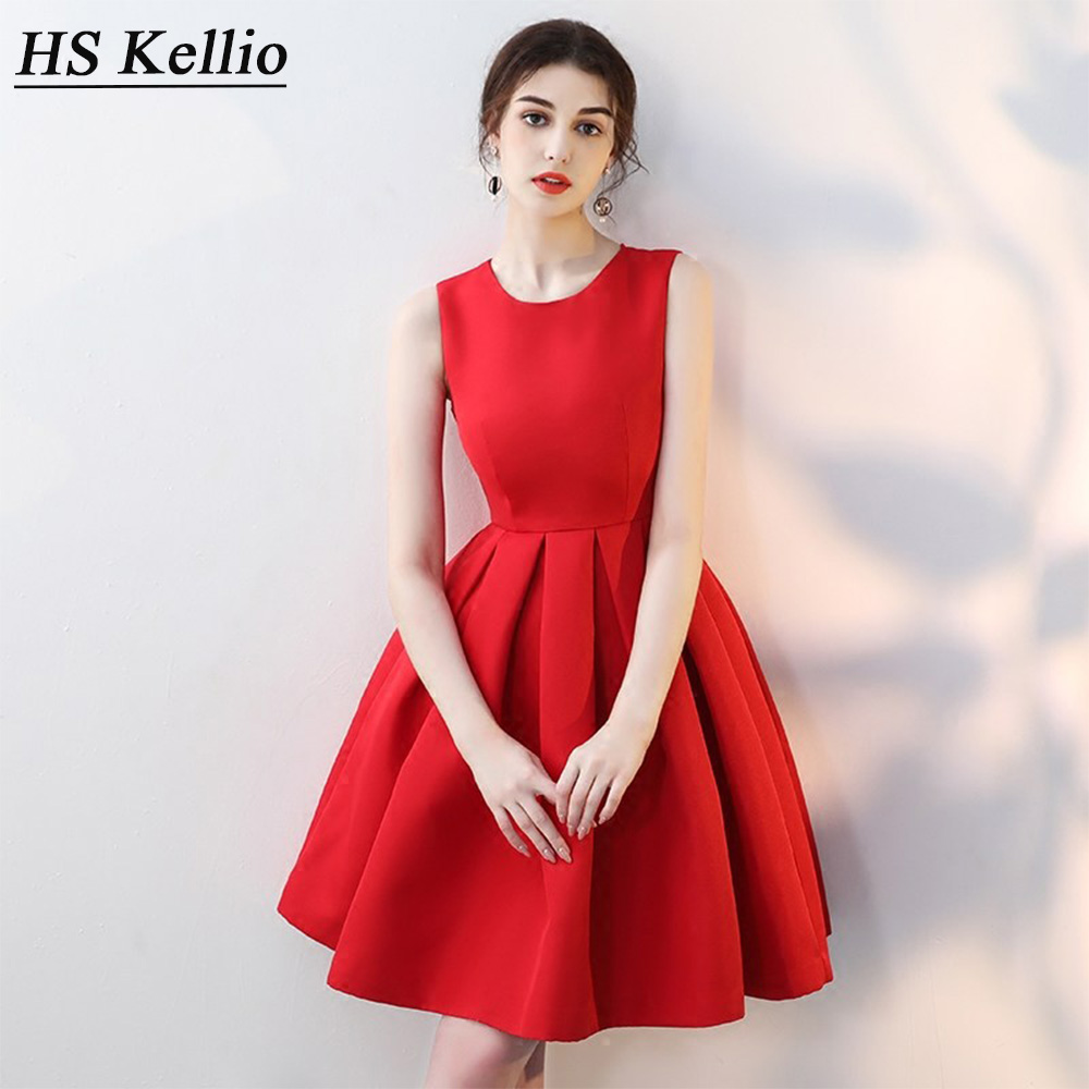HS Kellio Simple   Cocktail     Dress   Above Knee Red Prom Party   Dresses   With Bow Trim