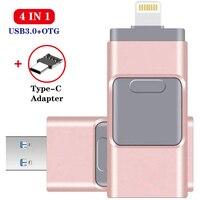Unidad Flash Usb para iPhone 6, 6S, 6Plus, 7, 7S, 7P, 8, 8Plus, XS, iPad, lápiz de memoria USB de 128GB, Pendrive para iOS, almacenamiento externo