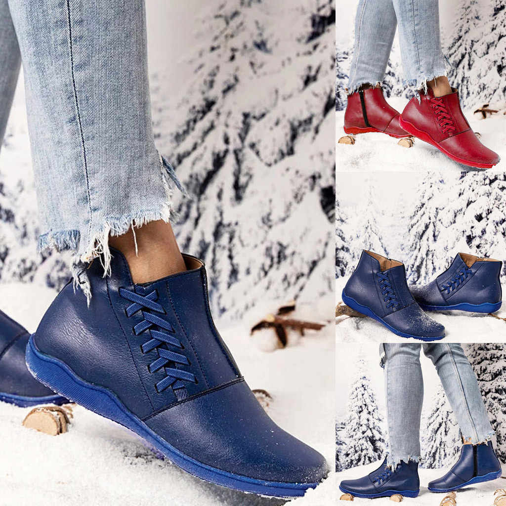 2020 autumn Winter new Women's Ladies Fashion Leisure Large Size Flat Heels Lace-Up Boots Shoes Waterproof Winter Botas lady#O22