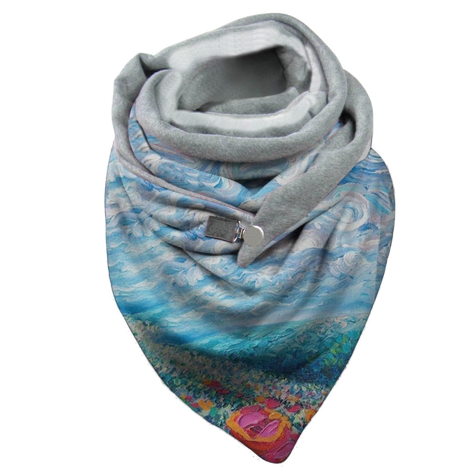 2021 платок женский Fashion Winter Abstract Print Bib Scarf плед echarpe femme Women's Buckle Imitation Cashmere бандана шарф
