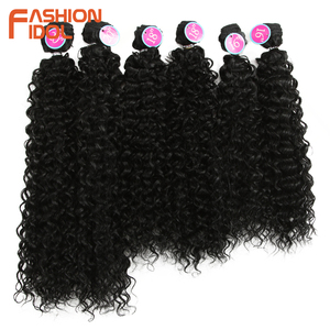 Image 3 - FASHION IDOL Afro Kinky Curly Hair Bundles Synthetic Hair Extensions Nature Color 6 Bundles 16 20inch 250g Kinky Curly Bundles
