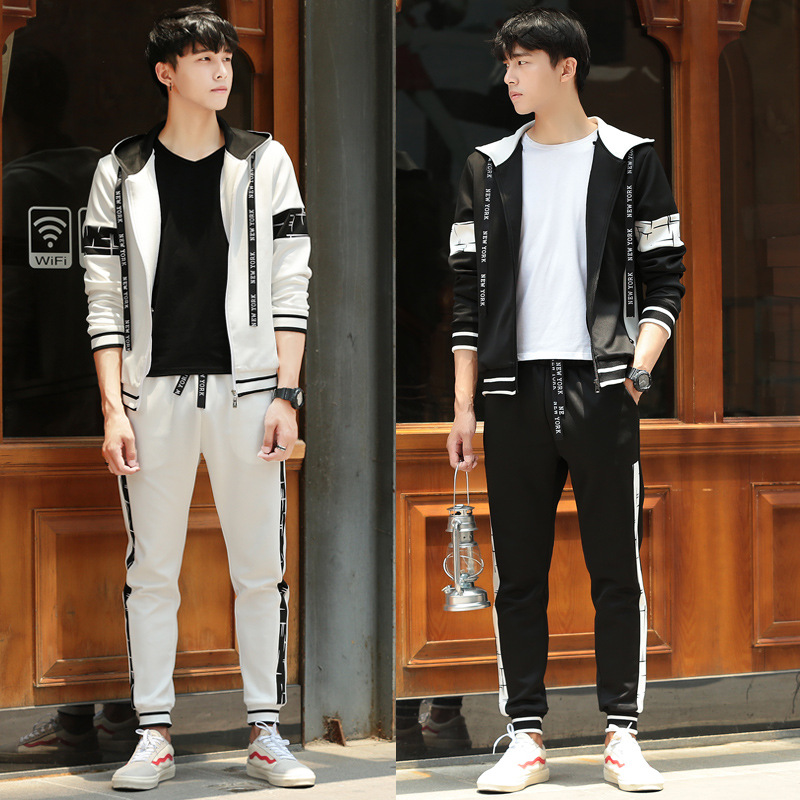 Hoodie Men's Spring And Autumn Teenager Junior High School Students New Style Korean-style Trend Casual Sports Clothing Set Coat