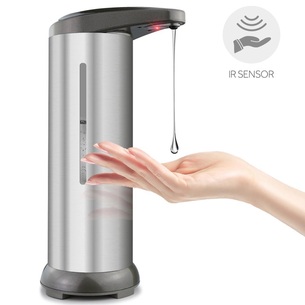 300ml Soap Dispensers Automatic Hand Liquid Sanitizer Touch Free Sensor Infrared Motion Sensor Liquid Soap for Kitchen Bathroom