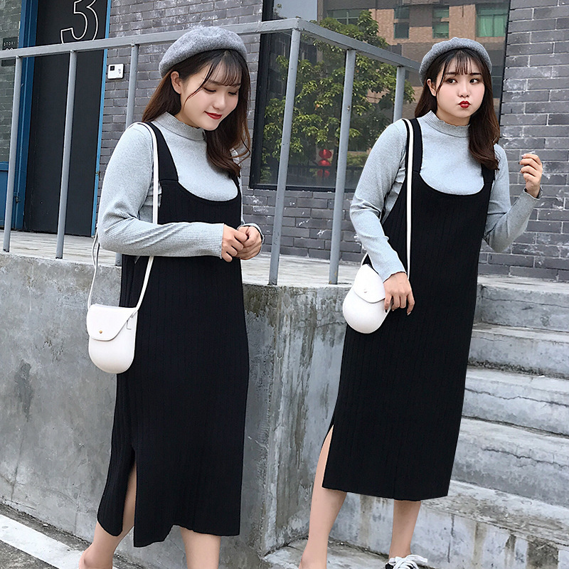Large Size Dress Chubby Set Strap Dress Fat Mm Western Style Loose-Fit Cover Meat 200 Sundress Two-piece Dress 783