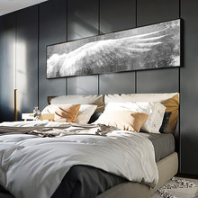 Larger Angel Wings Vintage Feather Poster Print Black White Wall Art Canvas Paintings Wings Pop Art Wall Picture For Living Room(China)