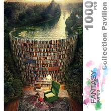 Estantería y canal de madera para niños y adultos, rompecabezas de ersion de 1000 piezas, Tarjeta blanca, juguetes educativos