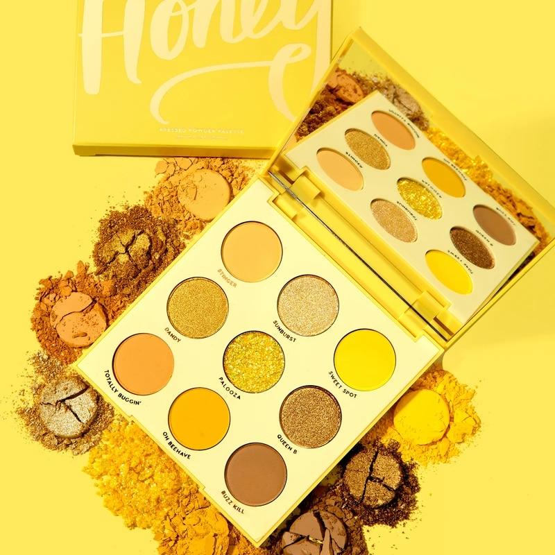 9 Color Honey Shimmer Eyeshadow Palette Waterproof Eyeshadow Makeup Pallete Lasting High Pigment Effect Glitter Matte Eye Shadow