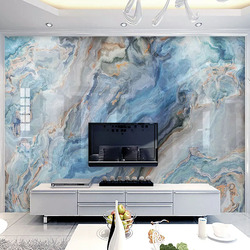 Фото обои, современные синие занавески Мрамор пейзаж фрески Гостиная ТВ фон Настенный декор ПВХ самоклеящаяся Водонепроницаемый 3D Стикеры