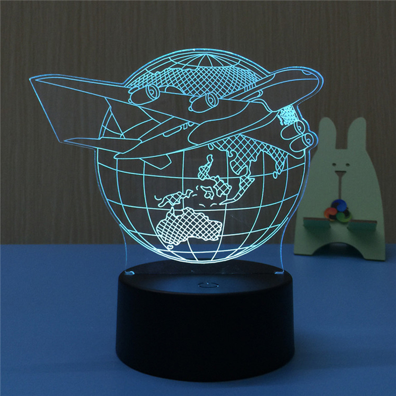 Airplane Earth 3D LED Lamp Night Light USB LED Illusion Atmosphere Vision Table Lamp for Children Bedroom Decor Novelty Gift image