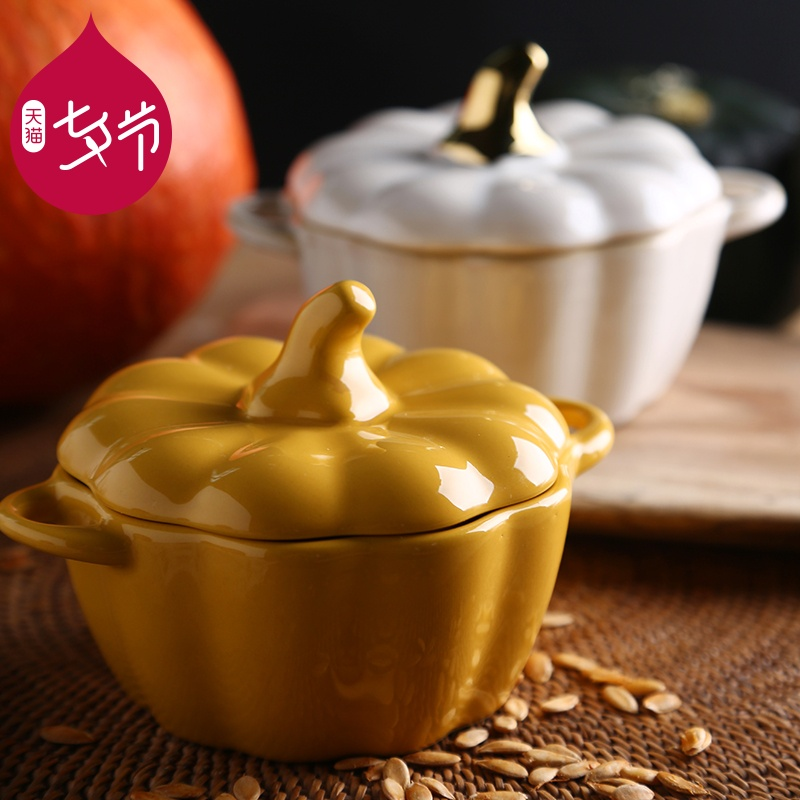 Porcelain bowl with lid cute cutlery pumpkin household creative rice small soup dessert fruit