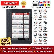 Lansmanı X431 V 8 inç araba tam sistem OBD2 tarayıcı teşhis otomatik aracı OBDII kod okuyucu desteği Bluetooth/Wifi çoklu dil