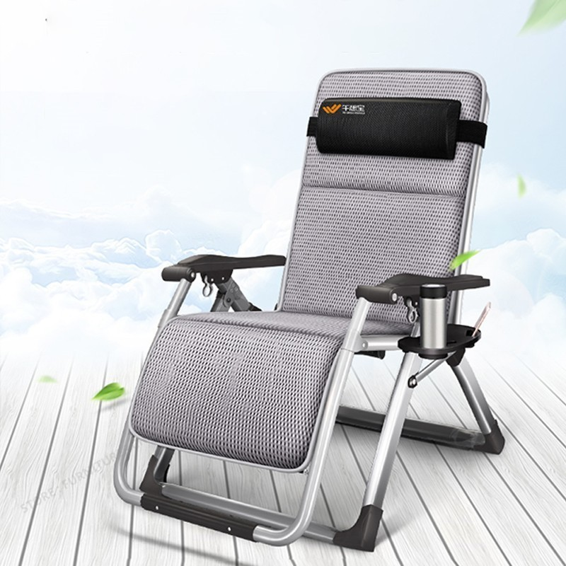 Steel Frame Folding Chair Break Siesta Chair Balcony Back Lazy Leisure Beach Portable Home Chair Bed