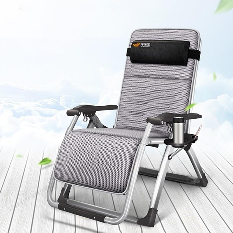 Steel Frame Folding Chair Break Siesta Chair Balcony Back Lazy Leisure Beach Portable Home Chair Bed