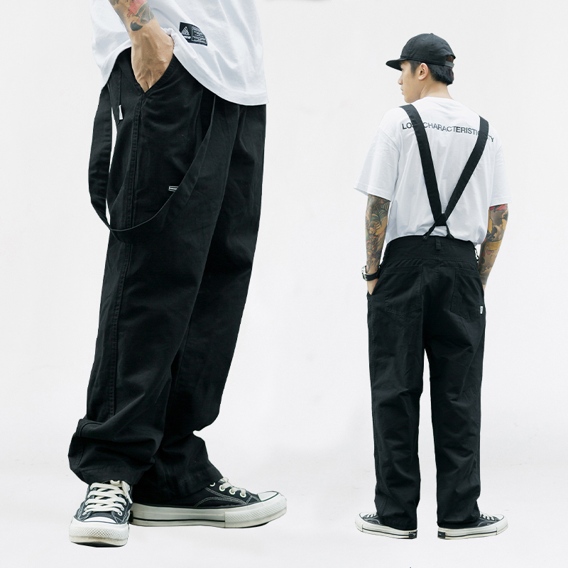 Suspenders Trousers Mens Streetwear Hip Hop Overalls Canvas Cloth Cargo Pants Work Casual Pant Men