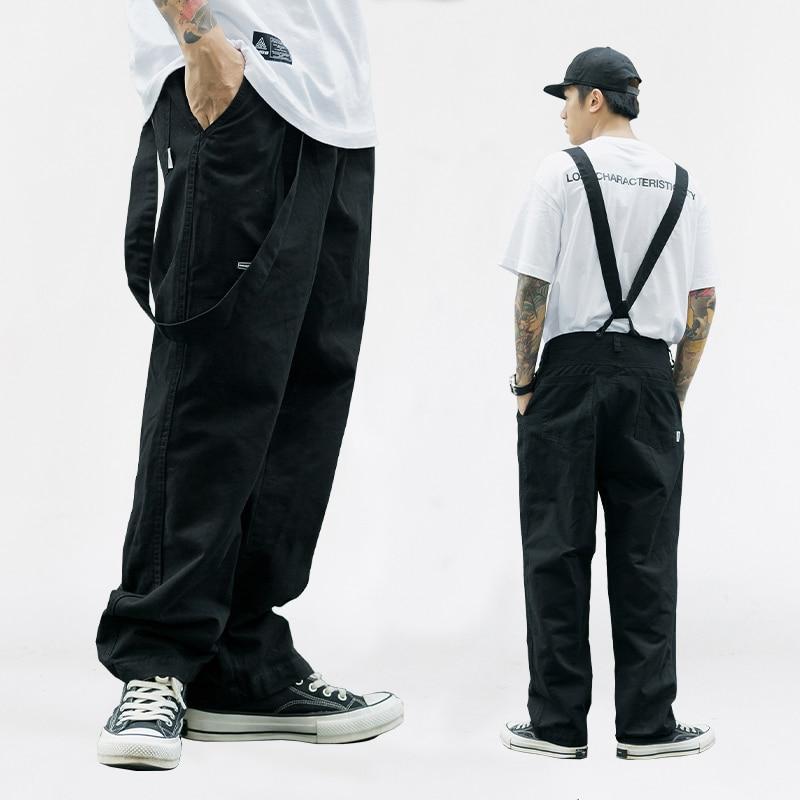 Suspenders Trousers Mens Streetwear Hip Hop Overalls Canvas Cloth Cargo Pants Work Casual Pant Men