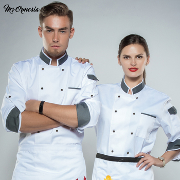 MSORMOSIA Home Cooking Chef Jacket Long Adjustable Sleeve Women Unisex Cook Coat Restaurant Hotel Kitchen Wear Waiter Uniform