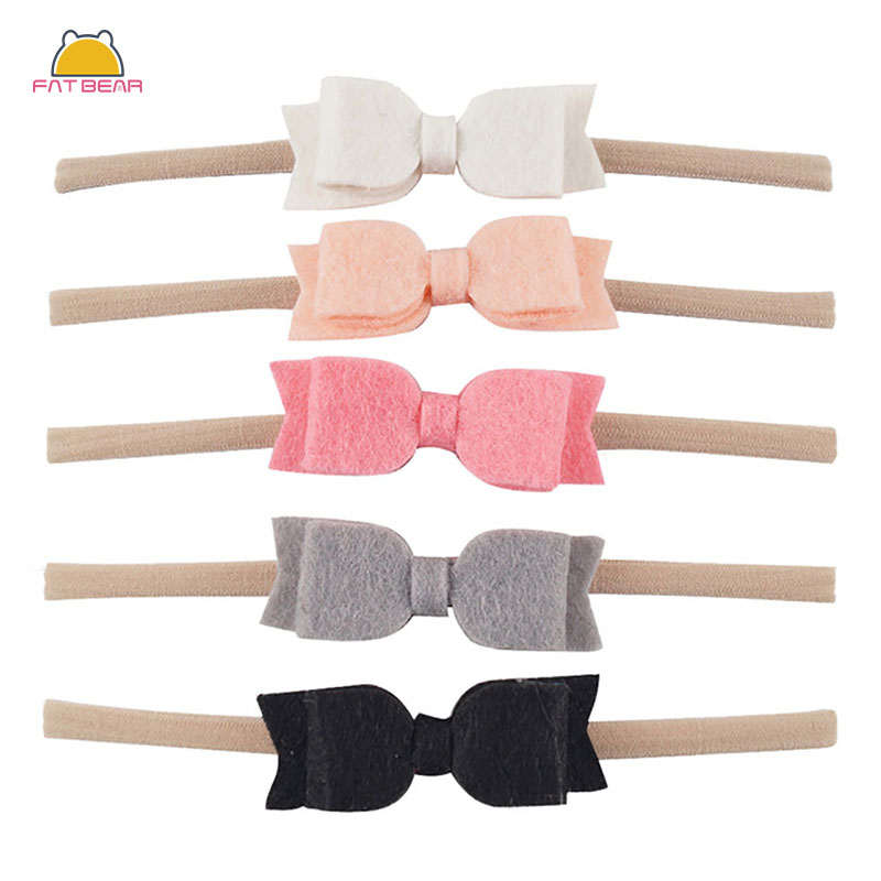 5pcs/set Cute Solid Elastic Nylon Headband Swallowtail Non-woven Bow For Baby Girls Handmade Headwear Hair Accessories