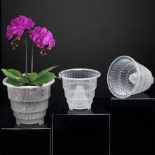 4Pcs 12/15CM Caliber Orchid Flower Container Planter Mesh Pot Fleshy Flower Pot with Holes Air Column - Transparent