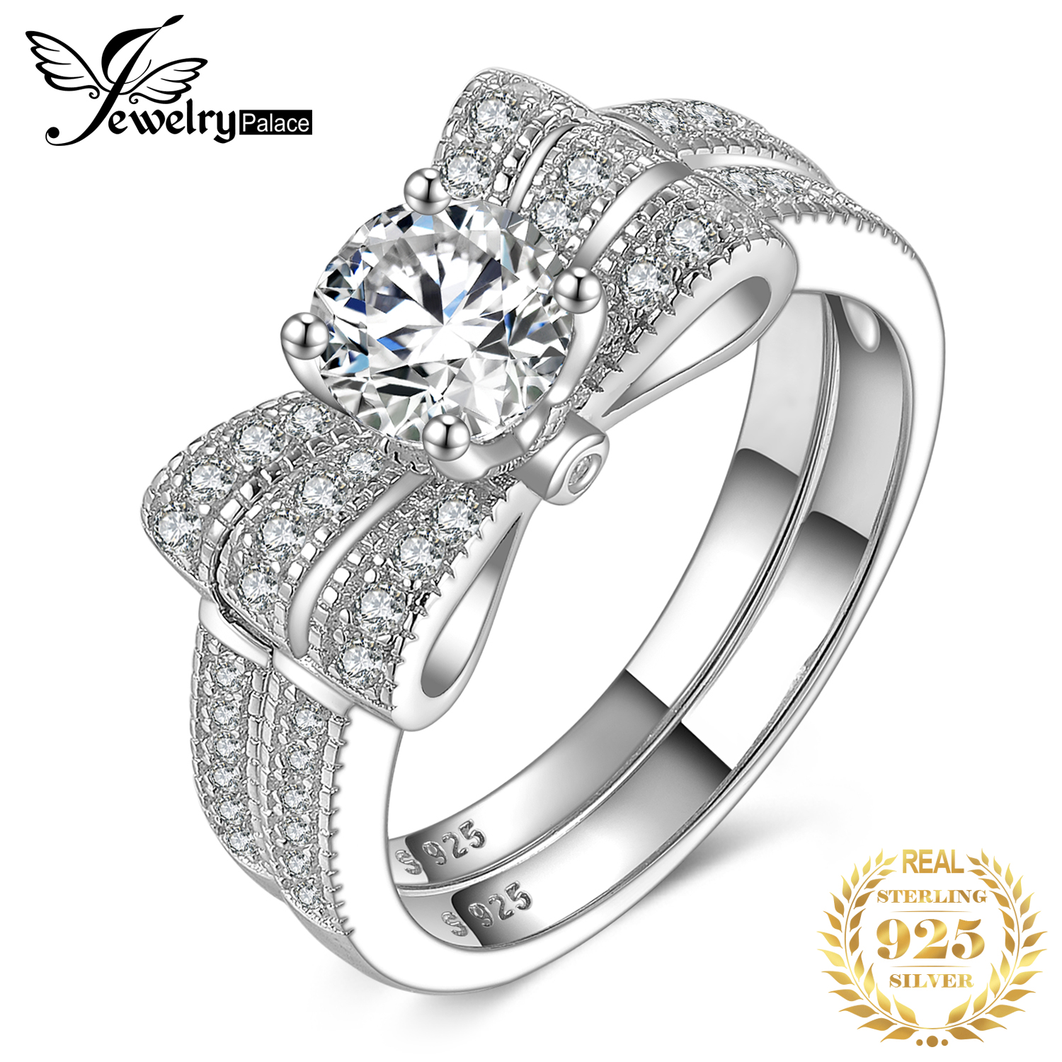 JewelryPalace Round 1ct Cubic Zirconia Ribbon Bowknot Engagement Wedding Ring Sets 925 Sterling Silver Rings For Women Jewelry