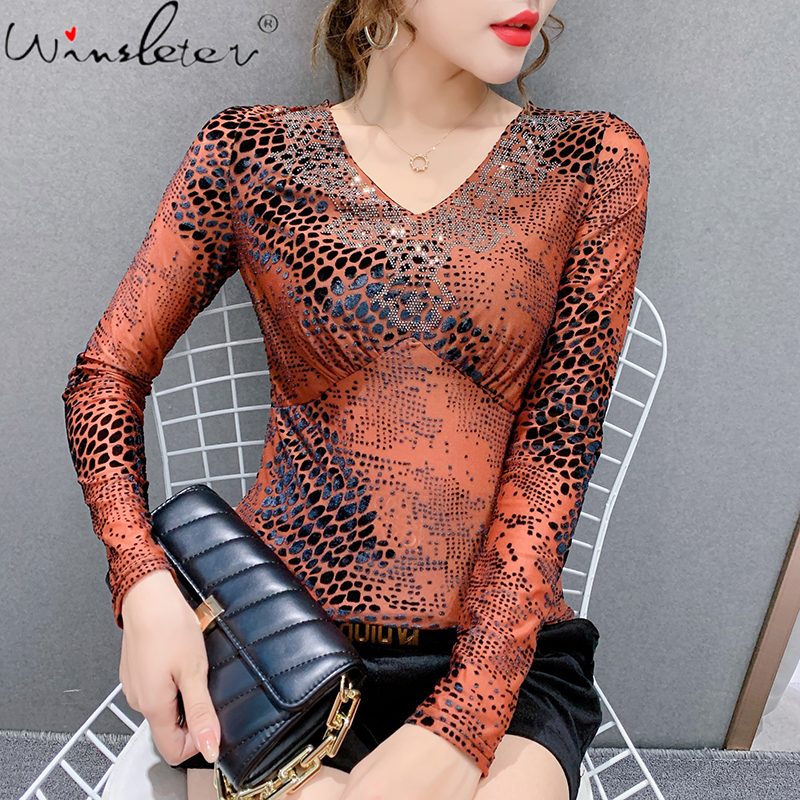Fall Winter European Clothes T-shirt Flock Printing Sexy Shiny Diamonds Women Tops Ropa Mujer Long Sleeve Tees 2020 New T00502A