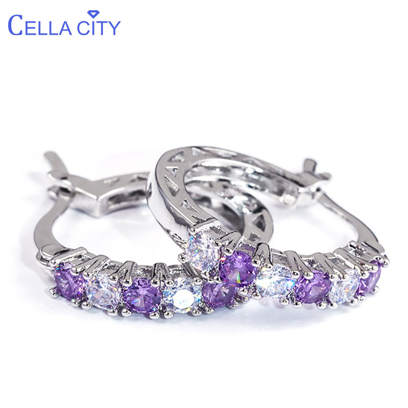 Cellacity Four Colors Choices Earrings For Women Silver 925 Jewelry With Gemstones Sapphire Emerald Amethyst Ruby Ear Drops Gift