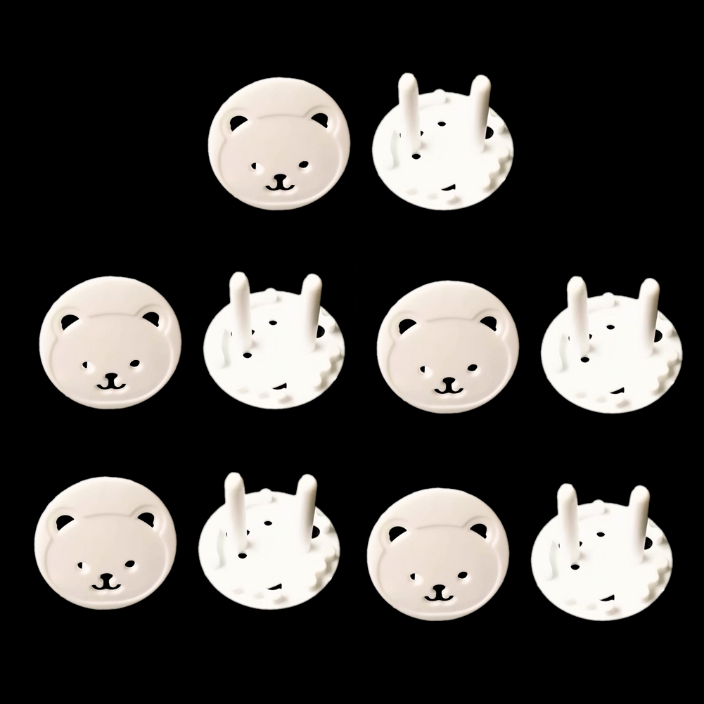 10pcs Easy Install Electrical Safety Bear Shaped Durable Home Office Protector EU Outlet Baby Proof Plug Cover