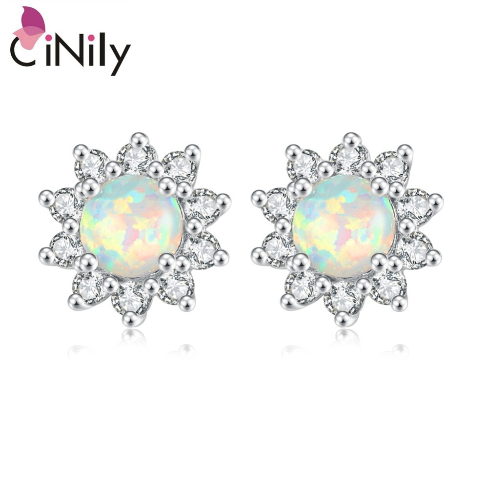 CiNily White Blue Pink Green Fire Opal Round Stone Stud Earrings Silver Plated Earring Daisy Sunflower Flora Summer Jewelry Girl